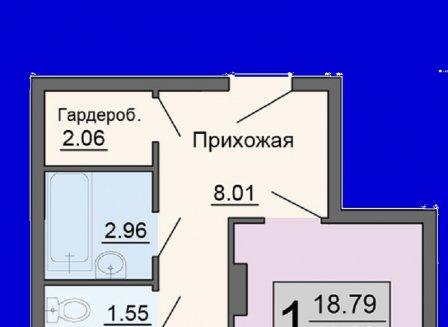 1-комнатная квартира, 46.93-Кв.м.