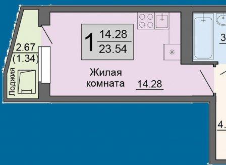 1-комнатная квартира, 23.54-Кв.м.