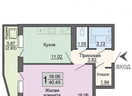 1-комнатная квартира, 40.45-Кв.м.